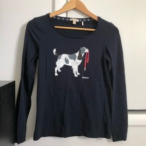 Barbour Long Sleeve Navy Blue Dog Print Shirt US 4